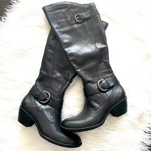 Born Kylli Black Knee High Boots Leather Buckle 7